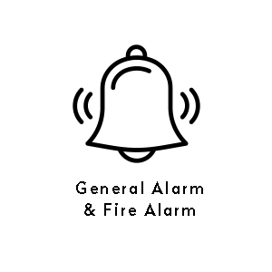 Serial interface to onboard general alarm systems or fire alarm systems